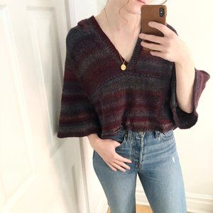 Stunning Boho Cropped Sunset Knit Wide Sleeve Top